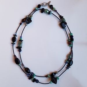 Jewelry - Black and Teal Beaded Necklace